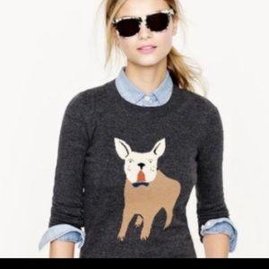 J Crew French Bulldog Angora Blend Sweater